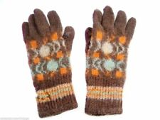 Vintage Hand Knitted Patterned Gloves 1920s-30s Womens Brown Blue Orange