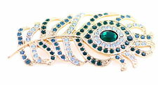 Large vintage retro style crystal peacock eye feather brooch pin, great gift