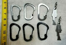 Set of 6 Nite Ize Carabiner SlideLock Key Ring #4 75 Lbs & 2 Doohickey Fish Keys