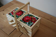 BEAUTIFUL VINTAGE STYLE  WOODEN  MEDIUM SEWING BOX UPHOLSTERED ON TOP