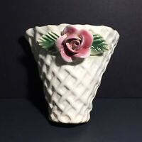 "Pernell Pottery 5"" Wall Pocket White Basket Weave With Capodimonte Pink Rose MCM"