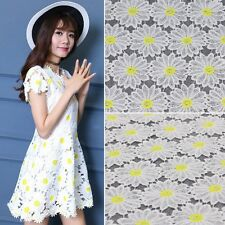 STUNNING White Yellow Flower Pattern Floral Lace Fabric 125cm Wide by The Yard