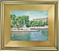 Fine Art Original Oil Painting Impressionist Landscape France Seine River Sunday