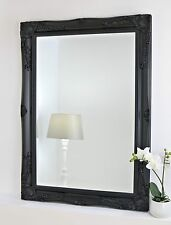 """Isabella Black Shabby Chic Rectangle Antique Wall Mirror 26"""" x 22"""" Small"""