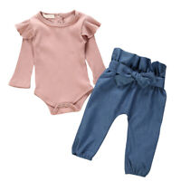 2pc Toddler Kids Baby Girl Long Sleeve Romper Tops T-shirt Pants Outfits Clothes