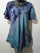 Top Fits XL 1X 2X 3X Plus Tunic Purple Blue Lace Up A Shaped Asymmetric NWT G787