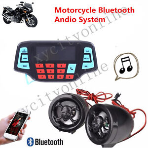 UTV ATV Bluetooth Amplifier Sound System Hand-free Speakers FM USB Audio ... New
