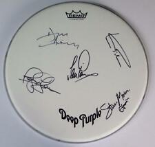 """DEEP PURPLE Signed Autograph 14"""" Drum Head Drumhead by All 5 Members"""