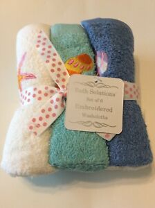 6pc Bath Solutions Embroidered Washcloths