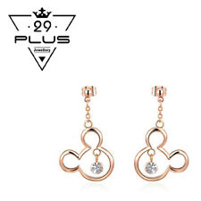 Cute 18K Rose Gold Filled Mickey Mouse Crystal Fashion dangle Earrings Gift AU