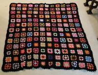 "Vintage Granny Square Crocheted Afghan Handmade Throw Blanket Roseanne 52"" × 59"""