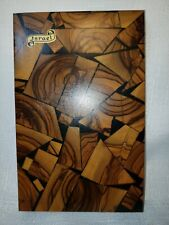 Vintage Israel souvenir piece of olive wood mosaic plaque wall decor Holy Land