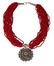 Schöne Ethno Multistring Kette rot mit Anhänger Nepal Tibet Silber