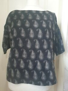TOAST Size 16 Black Woolen Short Sleeved Top With Paisley Print- Fully Lined
