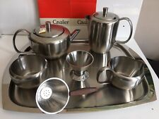 More details for hawker marris cavalier stainless steel large tray tea pot set mcm vtg new