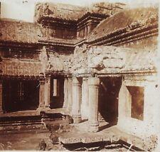Cambodge Ruines d'Angkor Photo F10 Plaque de verre Stereo Vintage