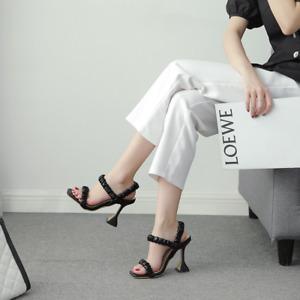 Women's Peep Toe Pumps Ruched Sandals Slingback High Heels Elegant Summer Casual