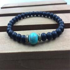 8mm Black Agate Blue Turquoise Bracelet 7.5 inches Monk Reiki Buddhism Men