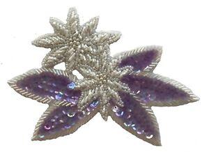 Lavande Double Fleur Floral Perlé Pailleté à Coudre Applique Craft Patch Vintage