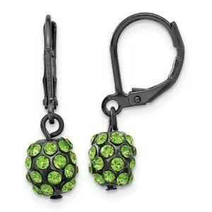 Black Plated Green Glass Stones Leverback Earrings Lever Back Drop Dangle