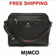 Mimco Phenomena Hip Hand Bag Saffiano Leather Handbag Black Crossbody Genuine
