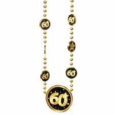 """Kette """"60"""" Schwarz Gold zum 60.Geburtstag Dekoration Party Geschenk Halskette"""