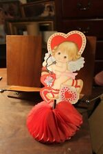 ca. 1950's Vintage Valentine's Day Die Tissue Fold Out Stand Up Cupid