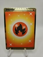 Pokemon- Metal Textured  Secret Rare Fire Energy Card