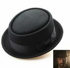 Black Wool Felt Crushable Porkpie Fashion Round Short Brim Fedora Hat Cap rlll