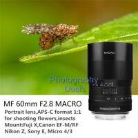 7artisans 60mm f2.8 Macro Portrait Manual Focus Lens For Canon Fuji Sony Nikon