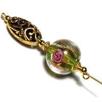 Nuevo Oro Pin de Sombrero,Verde Rosa Cuenta,Antiguo Vintage Estilo,12.7cm +
