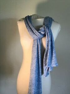 100% Linen Wrap, Shawl, Scarf Summer Coverup Pure Collection Blue