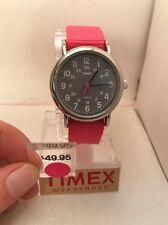 Timex T2N834 Women Weekender Watch Pink Nylon Strap Indiglo Quartz Buckle H56