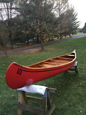 1964 OLD TOWN 16 ft WOOD CANOE RED - EXCELLENT CONDITION