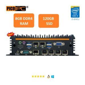 Fanless Mini PC Intel i3-8145U 8th Gen 6LAN Firewall VPN Router AES-NI 8G/120G