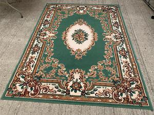 Large green floral patterned rug LSE310321E