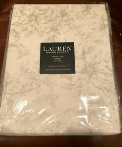 "Ralph Lauren POINSETTIAS 60 x 104"" Silver & Off-White Floral Tablecloth -- NWT"