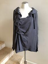 New without Tags MARNI Gray Ruffle Top Blouse, Size IT 44/US 8