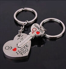 1Pair Couple Key Chain Keyring Valentine's Day Gift Love Heart