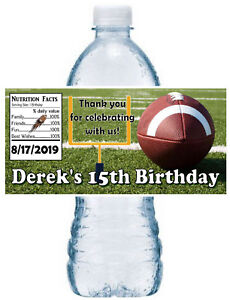 20 FOOTBALL BIRTHDAY PARTY FAVORS WATER BOTTLE LABELS ~ waterproof ink
