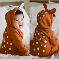 Toddler Kid Baby Boy Girl Deer Dot Hooded 3D Ear Romper Jumpsuit Clothes Outfits