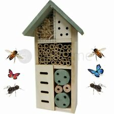 Wooden Insect Bug Hotel House Wood Garden Shelter Box Roof Natural Colour Hang