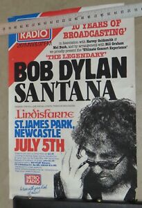 Original Bob Dylan Santana Lindisfarne Concert Poster 1984 Newcastle Bill Graham