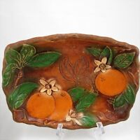 Multi Products USA Faux Carved Wood Serving Tray Oranges Mid Century Kitsch