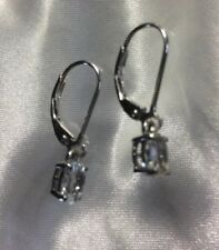 3/4 Ct, Aquamarine Dangle Lever Back Earrings In Platinum On Sterling Silver