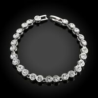 925 Silver Plated Tennis Bracelet Made with Swarovski Crystals