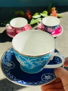 6 Pcs Tea Cups And Saucers, Porcelain Ceramic Tea Cups Coffee Mugs With Saucers