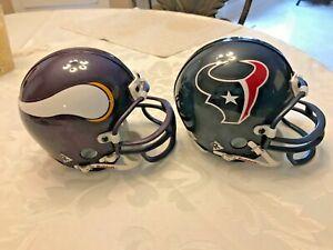 HOUSTON TEXANS Riddell NCAA Mini Football Helmet-& MINNESOTA VIKINGS MINI HELMET