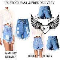 Womens High Waisted Ladies Vintage Ripped Stonewash Denim Shorts Jeans Hot Pants
