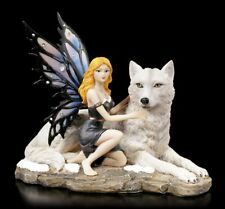Elfen Figur - Anhia mit weißem Wolf - Fantasy Fee Statue Deko